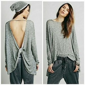 Free People, Shadow Hacci Open Back Sweater - Grey